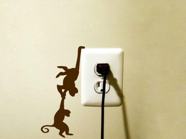 two monkeys light switch sticker