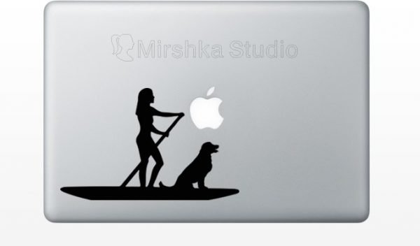 woman and dog on paddle board decor