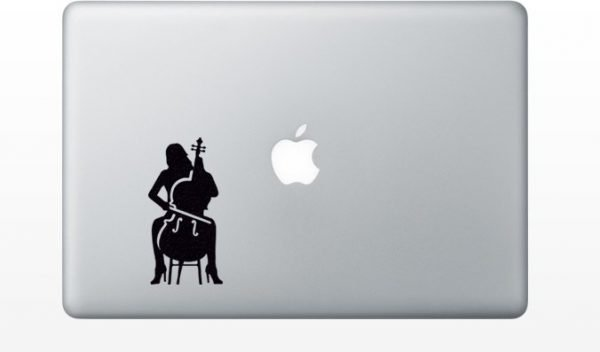 woman playing cello computer sticker