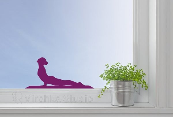 woman practice yoga window decor