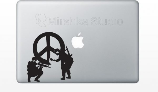 Banksy Soldiers Painting Peace Sign mac Sticker