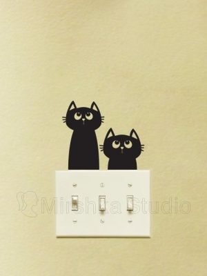 Two Adorable Cats Fabric Light Switch Sticker