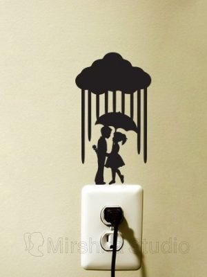 BOY AND GIRL UNDER UMBRELLA