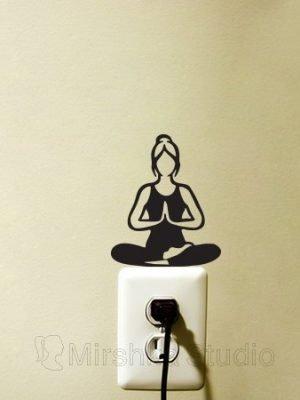 lotus yoga pose wall sticker