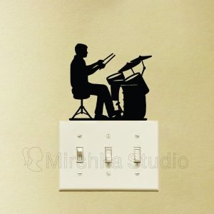 boy play drums sticker