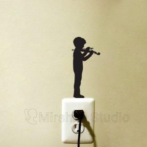 boy violin stand sticker