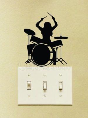 girl drummer sticker