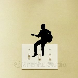 guitar player light switch decal