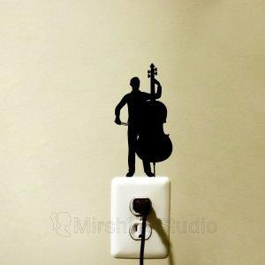 man playing cotrabass sticker