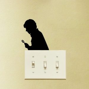 sherlock light switch sticker