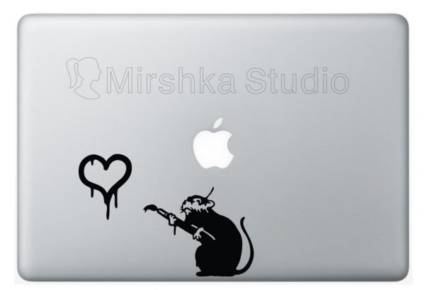 banksy love rat laptop decal