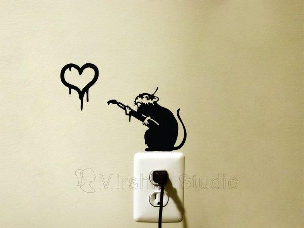 banksy rat wall sticker