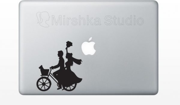 bride and groom laptop sticker