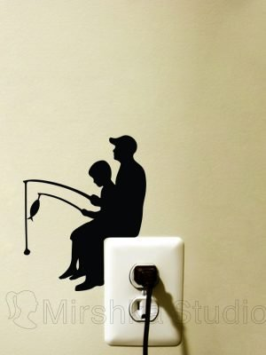 father and son fishing sticker
