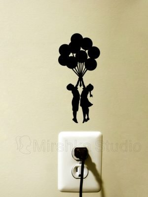 kids holding balloons wall sticker