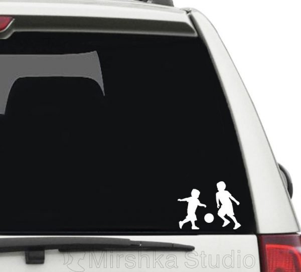 kids playing soccer car decal