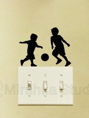 kids playing soccer sticker