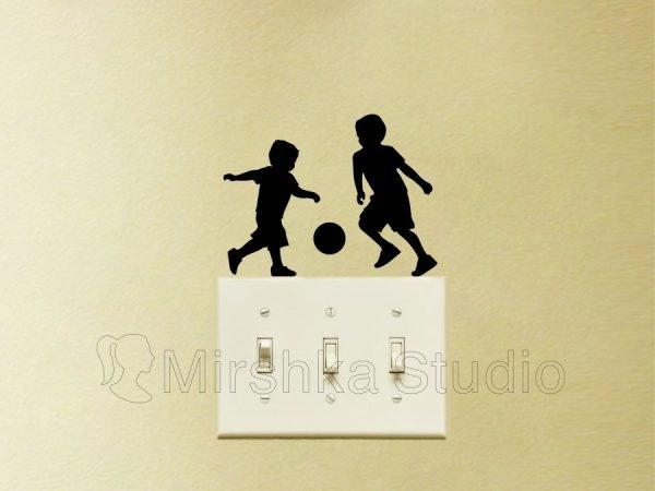 kids playing soccer sticker