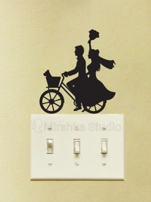 married couple on a bike sticker
