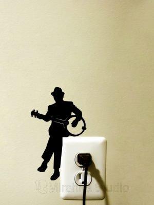 banjo player wall sticker