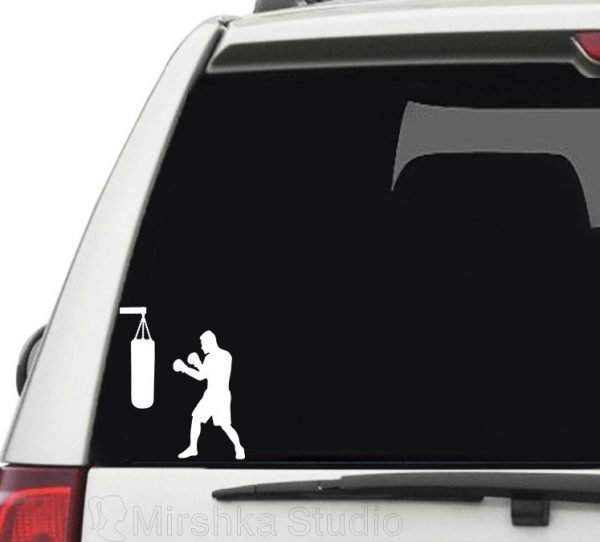 boxing man car sticker
