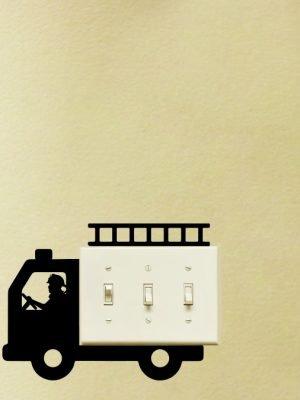 FIREtruck light switch sticker