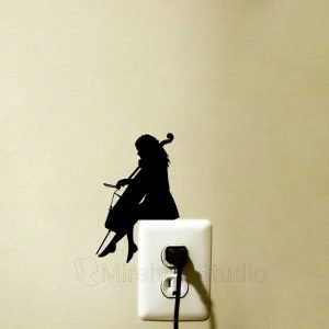 girl cello playing light switch sticker