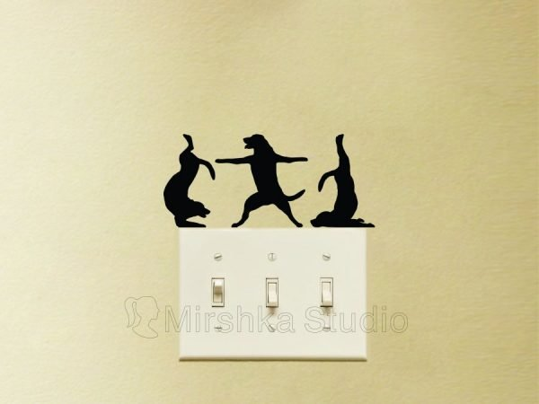 Dogs doing yoga wall sticker