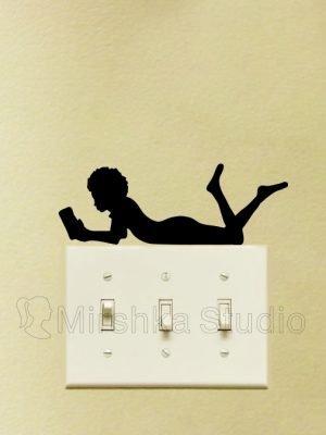 black girl reading sticker