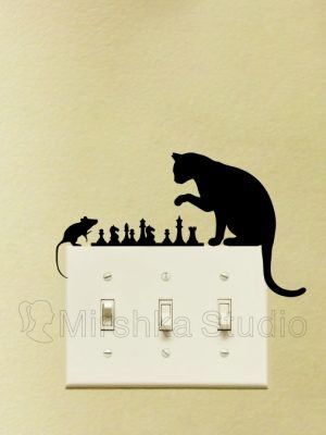 cat and mouse chess sticker