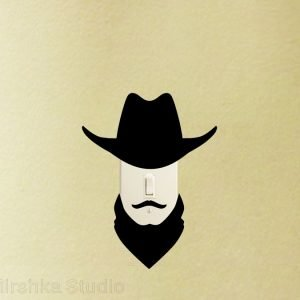cowboy light switch sticker