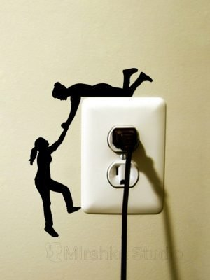 girl climber light switch sticker