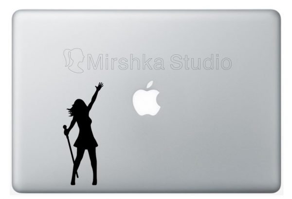 girl singer laptop sticker
