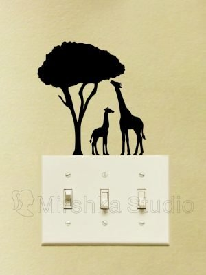 mother and baby giraffe stickers