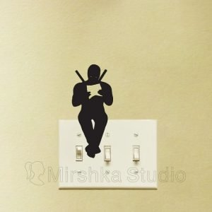 sitting deadpool light switch sticker